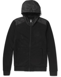 Prada Slim Fit Panelled Nylon And Loopback Cotton Jersey Zip Up Hoodie