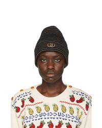 Gucci Black Gg Striped Beanie