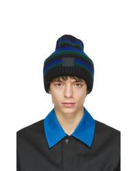 Acne Studios Black Wool Striped Patch Beanie