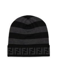 Fendi Ff Logo Pequin Stripe Wool Beanie