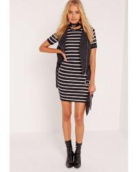 Missguided stripe bodycon dress black medium 850851