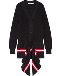 Givenchy Draped Striped Cotton Blend Cardigan Black