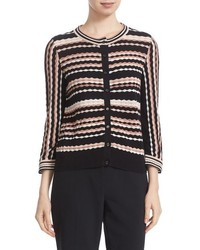 Kate Spade New York Scallop Stripe Cotton Blend Cardigan
