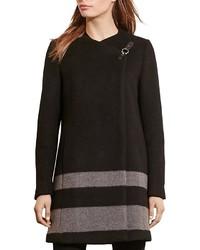 Lauren Ralph Lauren Buckle Front Contrast Stripe Coat
