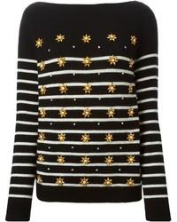 Black Horizontal Striped Crew-neck Sweater