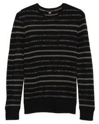 Black Horizontal Striped Crew-neck Sweater