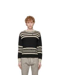Maison Margiela Black And Beige Linen Sweater