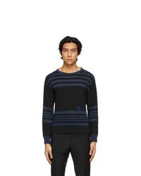 Maison Margiela Black And Blue Linen Sweater