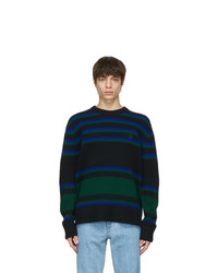 Acne Studios Black And Blue Wool Striped Sweater