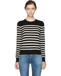 Saint Laurent Black And Ivory Cashmere Mariniere Sweater