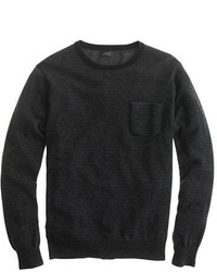 Italian cashmere pocket sweater in microstripe medium 328507