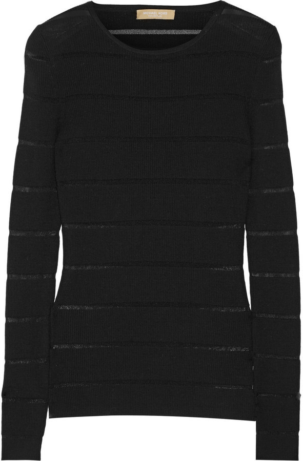 4f506c240936 ... Michael Kors Michl Kors Collection Sheer Striped Ribbed Merino Wool  Blend Sweater Black ...