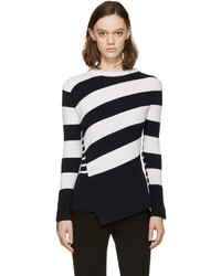 Alexander McQueen Navy Ivory Striped Wool Sweater