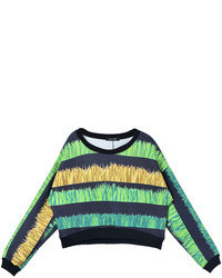 Choies Striped Grass Print Sweatshirt In Black
