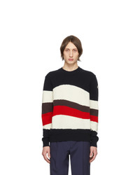 Moncler Tricolor Wool And Mohair Red Wave Sweater