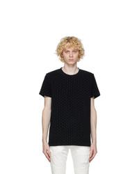 Balmain Black Flock Monogram T Shirt