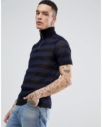 ASOS DESIGN Knitted Turtle Neck T Shirt With Zip In Navy Stripes