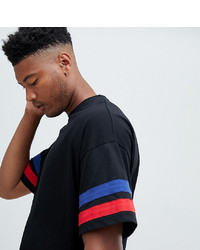 ASOS DESIGN Tall Oversized T Shirt With Contrast Sleeve Stripe In Black
