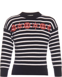 Cut out embroidered floral striped sweater medium 3649105