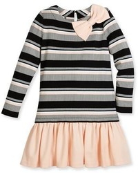 Kate Spade New York Long Sleeve Striped Flounce Dress Blackwhite Size 7 14