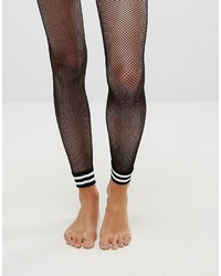 Stripe cuff footless fishnet tights medium 3764743