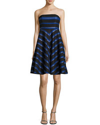 Halston Heritage Strapless Metallic Stripe Fit And Flare Cocktail Dress