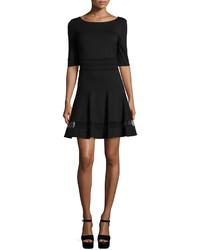 Erin Fetherston Tess Half Sleeve Fit Flare Mesh Stripe Dress