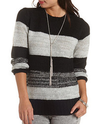 Charlotte Russe Fuzzy Glitter Striped Sweater