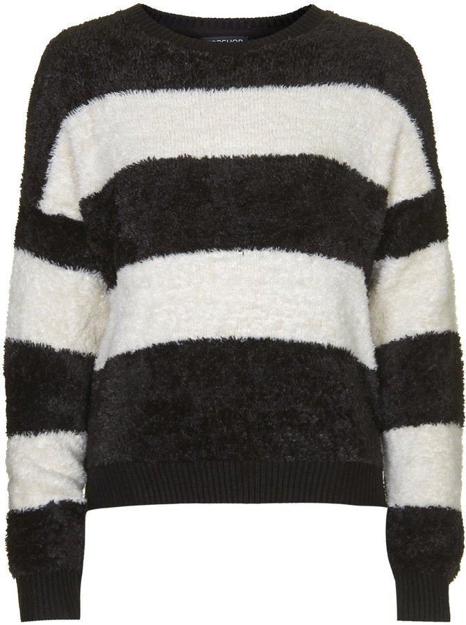 Topshop Black And White Striped Fluffy Sweater 100% Cotton Machine Washable