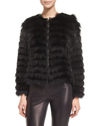 Black Horizontal Striped Fur Coat