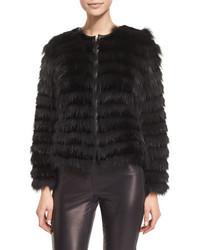London horizontal striped fur coat black medium 695195