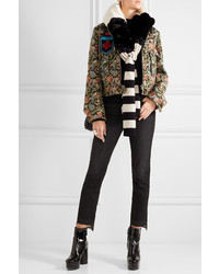 Marc Jacobs Striped Faux Fur And Wool Scarf Black