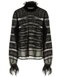 Isabel Marant Sondra Striped Lace Silk Blouse