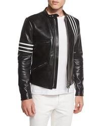 Black Horizontal Striped Leather Biker Jacket