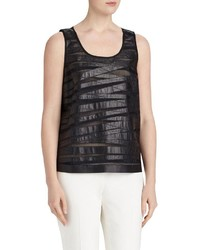 Lafayette 148 New York Cleo Leather Striped Tank