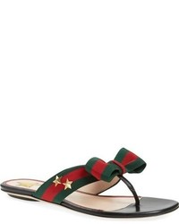 b5dbbb24e80 Women s Black Leather Thong Sandals by Gucci