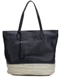 Black Horizontal Striped Leather Tote Bag