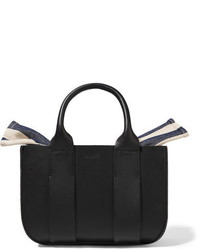 Muun Gilbert Micro Leather And Striped Cotton Canvas Tote Black