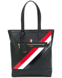 Thom Browne Tote In Black Pebble Grain Red White And Blue Diagonal Stripe In Calf Leather