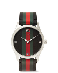 Gucci G Timeless 38mm Stainless Steel And Striped Leather Watch