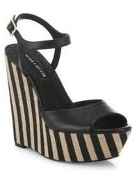 Alice + Olivia Laura Leather Raffia Platform Wedge Sandals