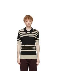 Maison Margiela Black And Beige Wool Linen Polo