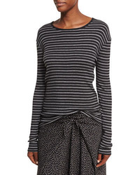 Vince Double Stripe Long Sleeve Crewneck Tee