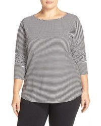 Sejour Plus Size Stripe Ballet Neck Long Sleeve Tee