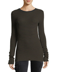 Vince Railroad Stripe Long Sleeve Crewneck Tee