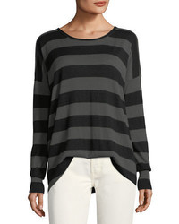 Vince Wide Striped Long Sleeve Oversized Tee