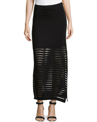 Black Horizontal Striped Maxi Skirt