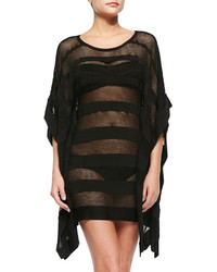 Herve Leger Amiee Striped Netted Swim Coverup