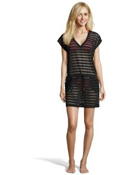 Calvin Klein Black Stretch Mesh Detail Draw String Waist Coverup