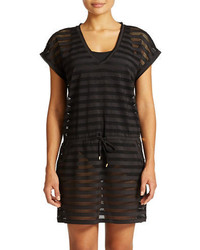 Calvin Klein Striped Mesh Tunic Cover Up